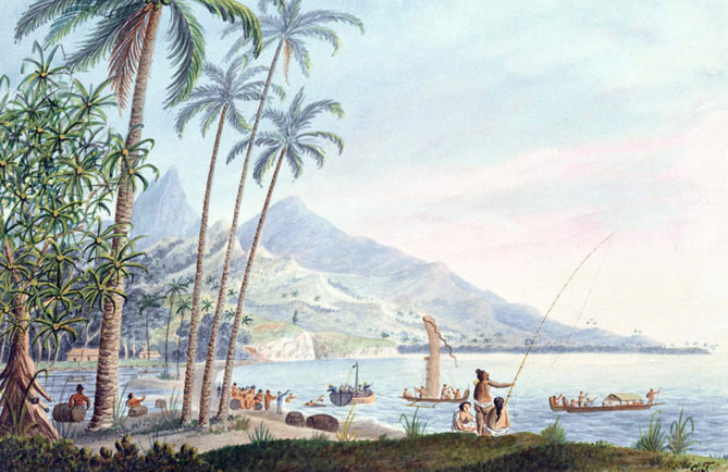 Near the watering place Matavai. Aquarelle de George Tobin 1792