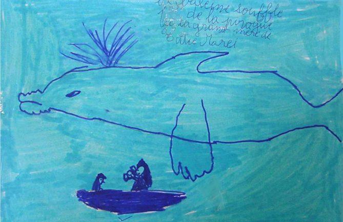 Légende des baleines de Tetamanu, illustration. Ecole de Fakarava