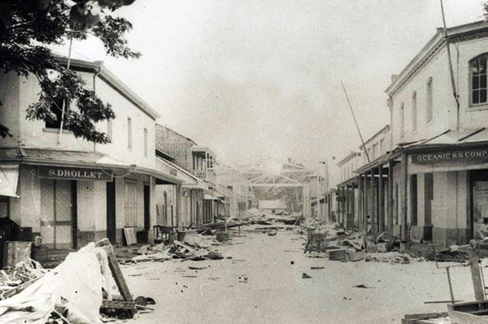 La rue de la Petite Pologne à Papeete après le cyclone de 1906
