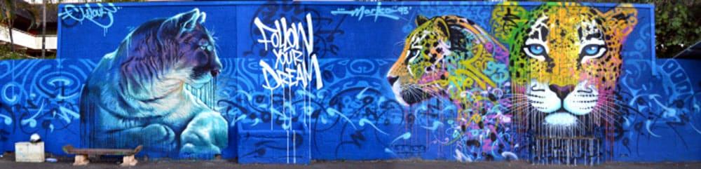Street Art, Les félins de Tipaerui par Kalouf et Marko93 - Papeete