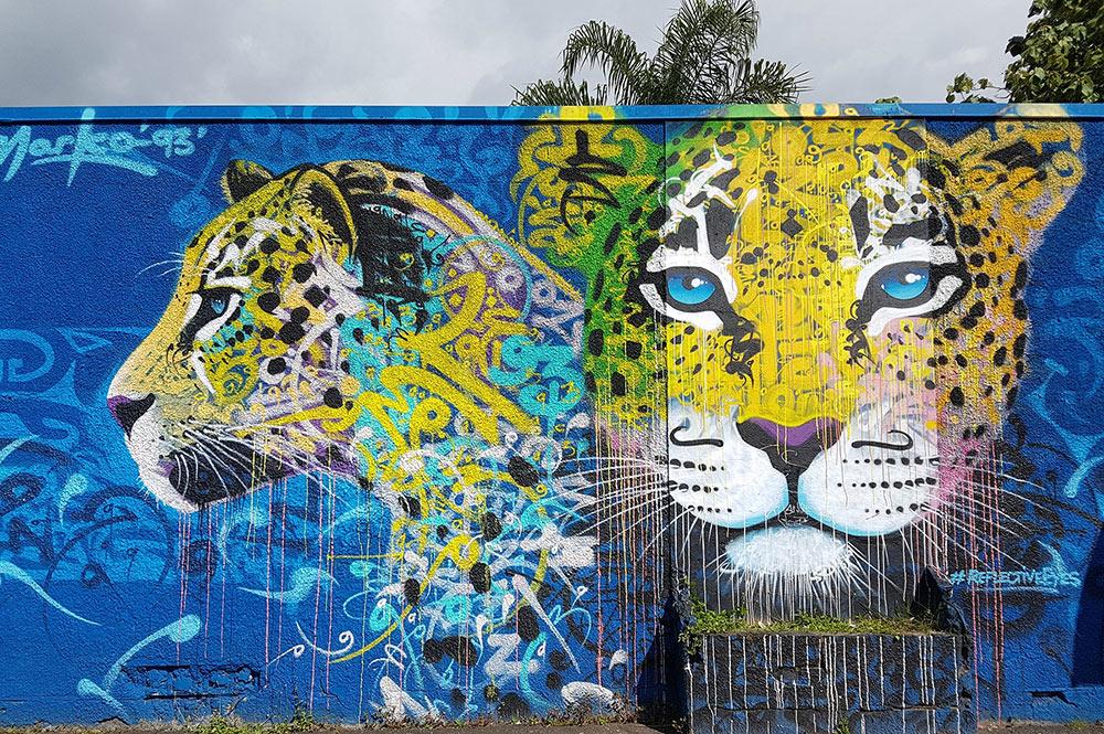 Street art, Felins par Marko 93 au collège de Tipaerui à Papeete