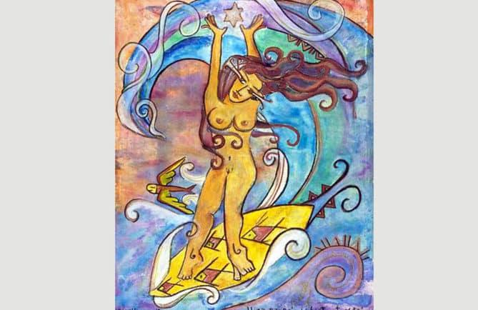 La surfeuse Hinaraure a Vahiatua ite matai par Sarahina