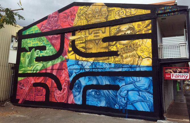 Fresque de Abuz, HTJ et Jops au marché de Papeete