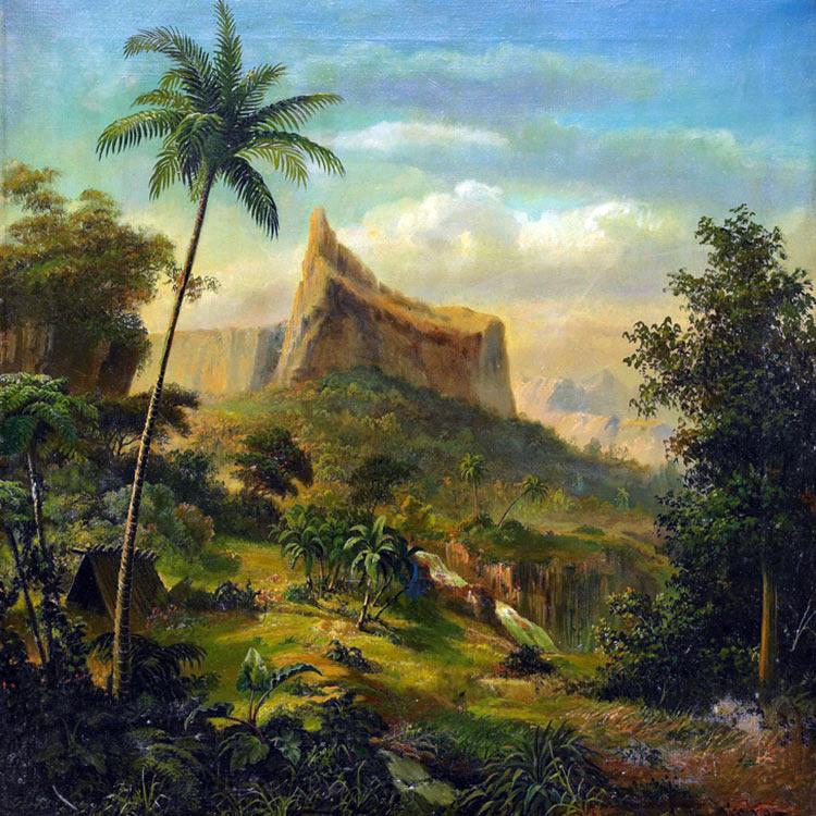 Le diadème de Tahiti. Peinture d'Axel Leopold Wiberg (Suede) 1880