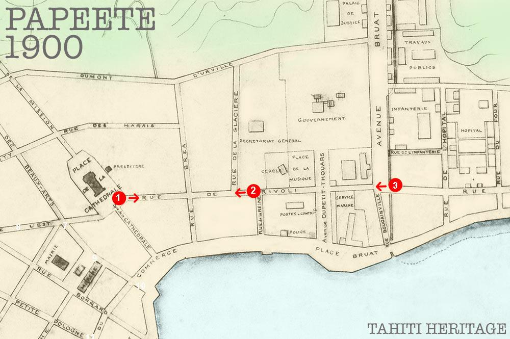 La rue de Rivoli à Papeete en 1900 © Tahiti Heritage