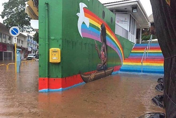La pirogue pendant les inondations de janvier 2017 Centre Vaima Papeete