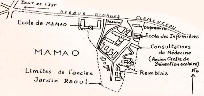 Emplacement du Jardin Raoul à Mamao Papeete. Illus. Bull SEO n°273-274