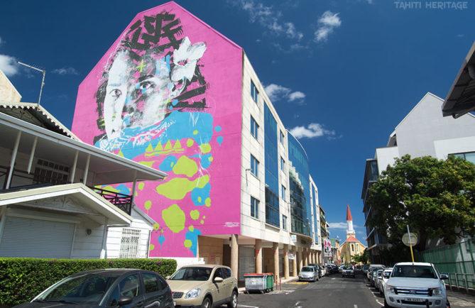 Street art, portrait de Herenui par Askew, Papeete