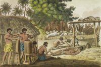 Sacrifices humains à Tahiti. Dessin Giulio Ferrario 1827