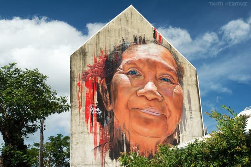 Street-art, Visage d'autochtone par Adnate à Papeete