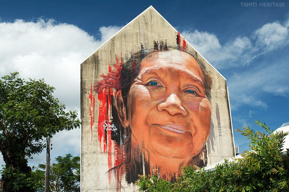 Street-art,Portrait d'Yee Vone par Adnate à Papeet