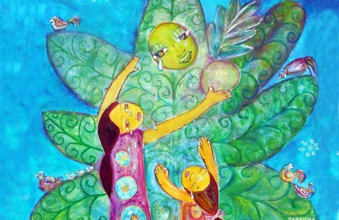 Légende de Rua-ta'ata et du Tumu Uru. Illustration Sarahina