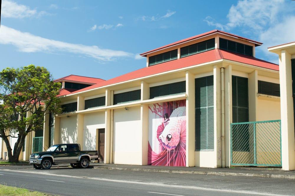 Street Art, Pink Fish par Kalouf, à Raiatea