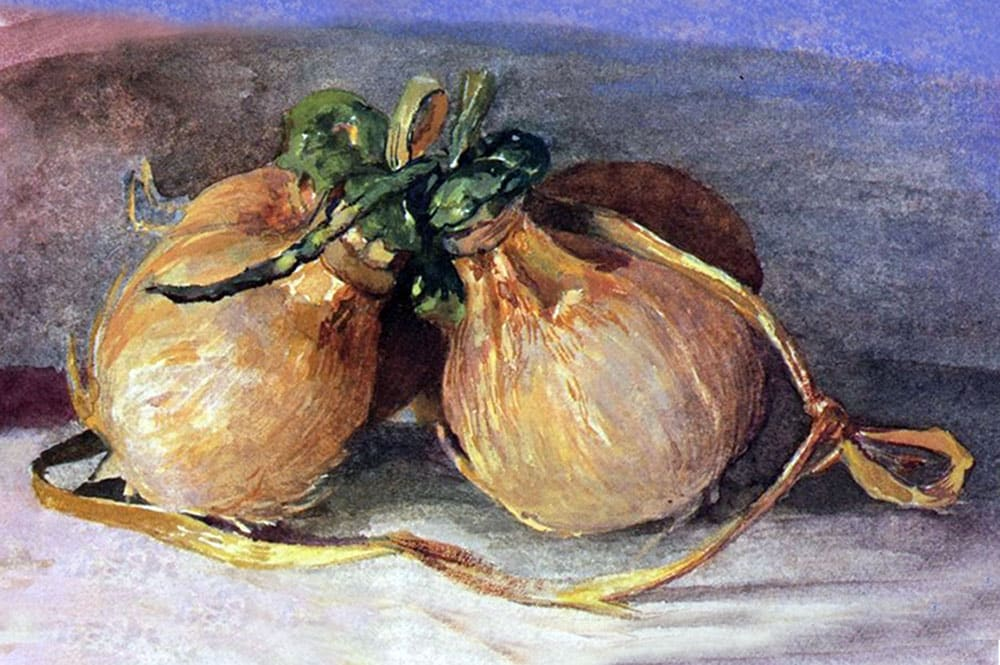 Aquarelle de John La Farge. 1890 Hari Bundle of coconuts from Tahiti.
