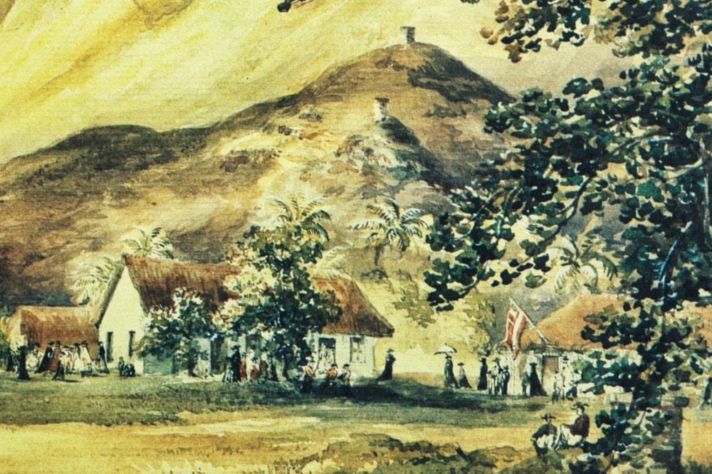 Fortin dans la vallée de la Punaruu, Tahiti. Tableau de Constance Cumming.