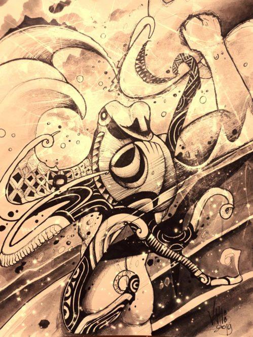 Légende de la pieuvre O'rava de Tubuai. Illustration Vashee