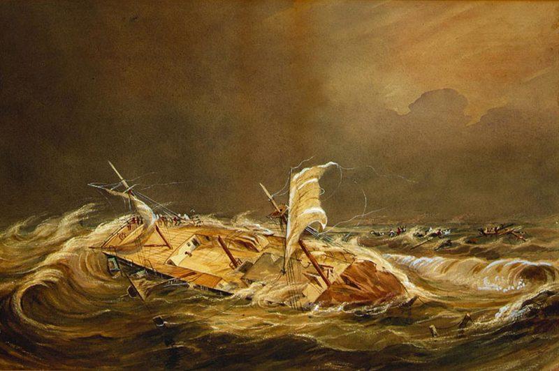 Le naufrage de la Julia Ann. Atoll de Scilly.. Peinture mormonhistoricsites