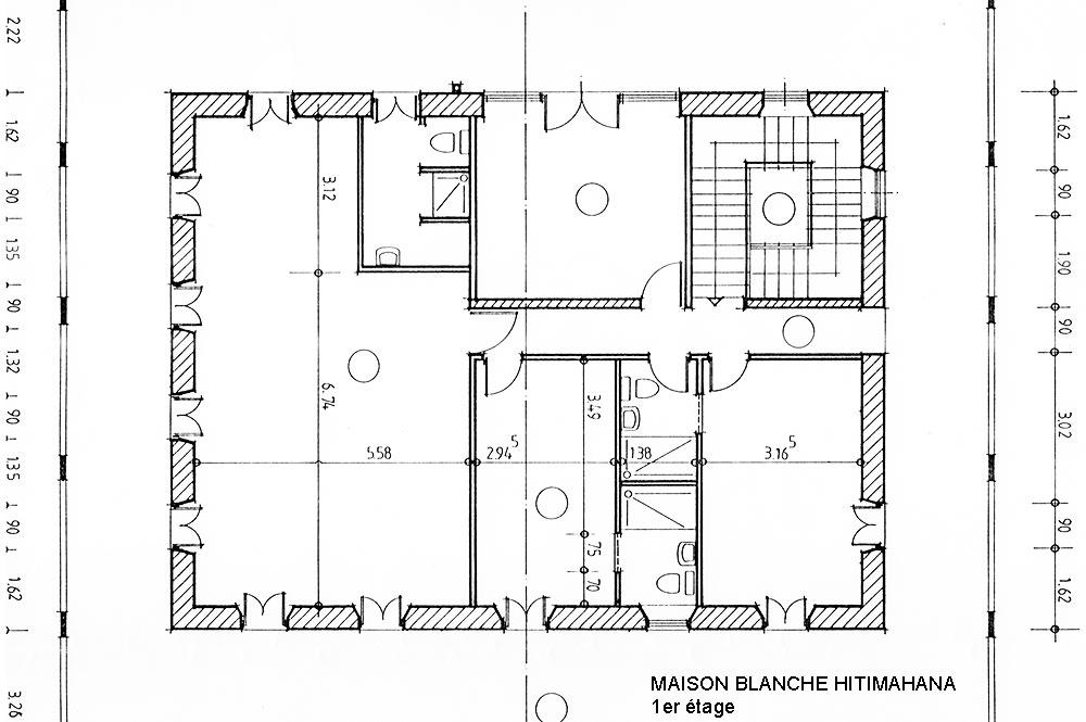 Maison blanche de Hitimahana, Plan de l'étage. Coll. Tahiti Heritage