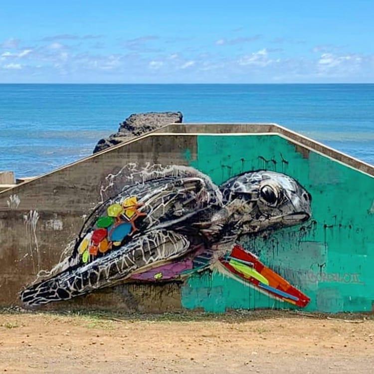 Street-art le demi cochon de Bordalo II